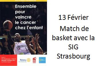 13 février match de basket avec la SIG Strasbourg